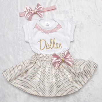 6fa788bffd01 Baby girl coming home outfit pink and gold sparkle babyshower present monogrammed  newborn shirt and skirt
