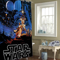 Retro Star Wars Shower Curtain special custom shower curtains that will make your bathroom adorable