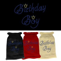 Rhinestone Knit Pet Sweater: Birthday Boy
