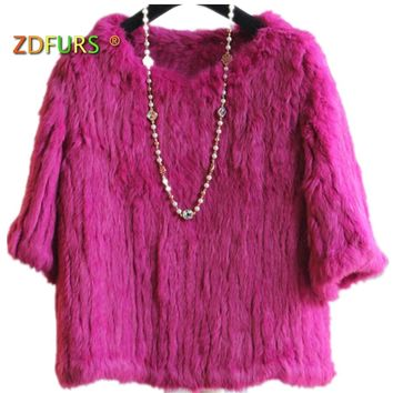 ZDFURS * knitted rabbit fur blouses sweater ladies pullovers real rabbit fur coat jacket wineter outerwear