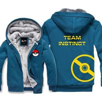 P01 New  go Hoodie Cartoon Anime Pocket Monster Team Hooded Winter cotton Coats Jackets Men Cardigan SweatshirtKawaii Pokemon go  AT_89_9