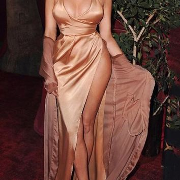 Golden Draped Tie Back Backless Halter Neck High Slit Homecoming Party Maxi Dress
