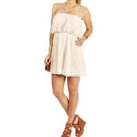 Ivory Strapless Lace Ruffle Dress