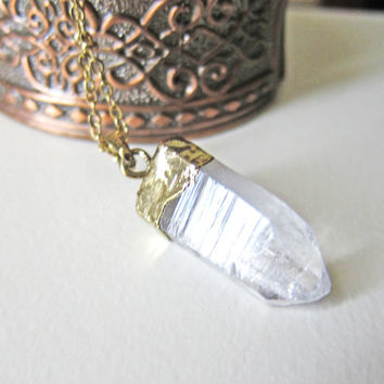 Quartz Necklace Bohemian Crystal Geode Clear Long Layered Gold Raw Mineral Stone Pendant Gemstone Natural Earthy Rustic Rock Arrow Chunky