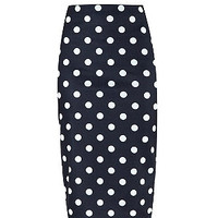 Black Spot Print Pencil Skirt