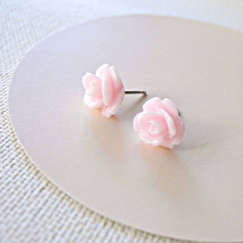 Pink Rose Earring Studs - Pastel Pink Flower Earring Posts - Baby Pink Floral Jewelry