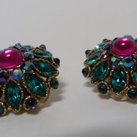 Vintage  Rhinestone Jeweled Flower Earrings