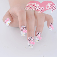 Hello Kitty Inspired French Nail Art Hello Kitty Style Face with Pink Bow