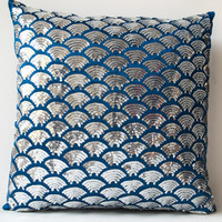 Blue Silk Silver sequin pillow embroidered waves -Sashiko pillow covers -Blue Cushion cover zipper -Throw pillow -gift -16x16 -Silver pillow