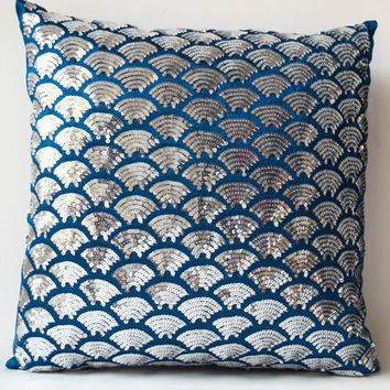 blue silk silver sequin pillow embroidered waves sashiko pillow covers blue cushion cover zipper - Blue Decorative Pillows