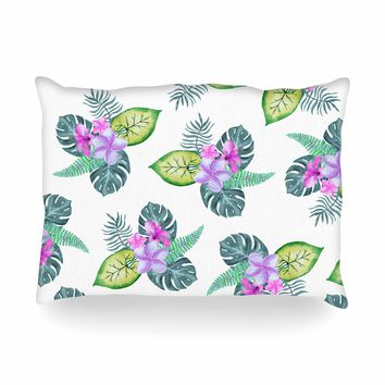"Sylvia Cook ""Tropical Flowers"" Green Pink Floral Nature Watercolor Digital Oblong Pillow"