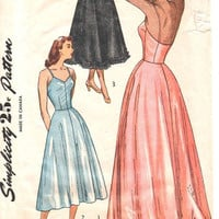 Simplicity 40s Sewing Pattern Evening or Day Length Full or Half Slip Petticoat Lingerie Negligee Undergarment Bust 32