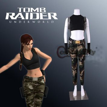 Cosplaydiy Game Tomb Raider Lara Croft Cosplay Costume Adult Women Costumes For Halloween Outfit Top+Pants Custom Made