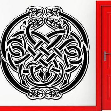 Wall Sticker Vinyl Decal Talisman Amulet Irish Knot Made Of Snakes Cool Unique Gift (z2403)