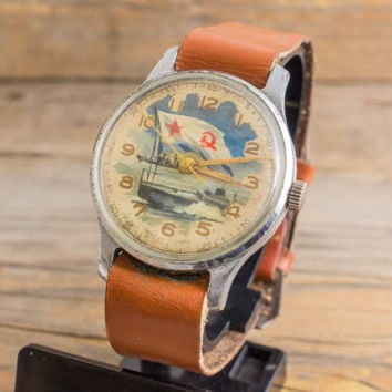 Vintage classic Pobeda watch, hand painted dial, russian watch ussr cccp