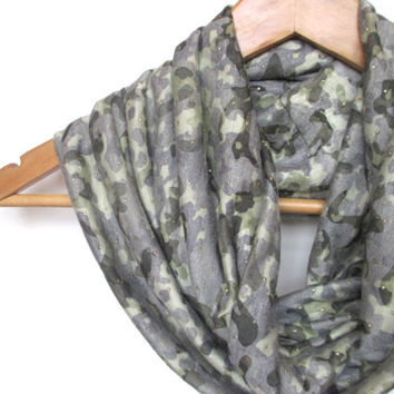 Sheer Camo Infinity Scarf, camouflage scarf, camo infinity scarf, camoflage with gold dots, Camo loop scarf, camo circle scarf, camouflage