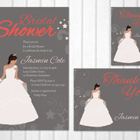 Disney princess bridal shower PRINTABLE invitation set