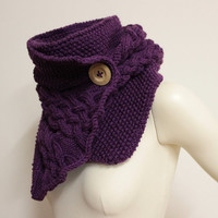 Cable Knit Cowl Scarf, Plum Knit Cowl, Knit Buttoned Scarf, Chunky Neck Warmer, Hand Knit Cowl, Purple Scarf, Chunky Cowl, Plum Scarf