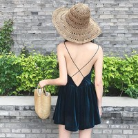 VELVET OPEN BACK SLEEVELESS VELVET SOFT DRESS
