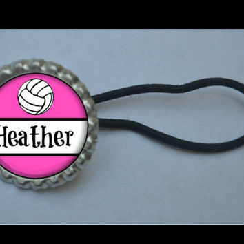 Personalized Volleyball Glitter or Plain Bottlecap Ponytail holder Party Favor,15 color choices, volleyball stocking stuffer, volleyball bow