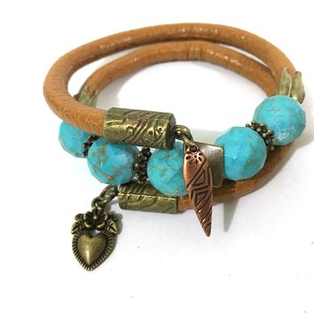 Leather and Turquoise Wrap Bracelet - Tan, Turquoise and Antique Bronze - Leather and Faceted Turquoise Beads - One Size Fits All - Wrappy Collection - Clay Space