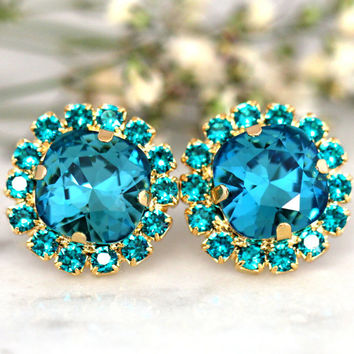 Teal Blue Earrings,Swarovski Dark Teal Earrings,Blue Zircon Bridal Stud Earrings,Gift for her,Bridesmaids Earrings,Indicolite Earrings