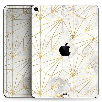 "Karamfila Watercolor & Gold V4 - Full Body Skin Decal for the Apple iPad Pro 12.9"", 11"", 10.5"", 9.7"", Air or Mini (All Models Available)"