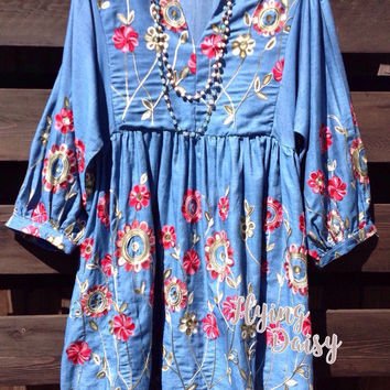 Plus Size - Floral Embroidered Demin Tunic Dress