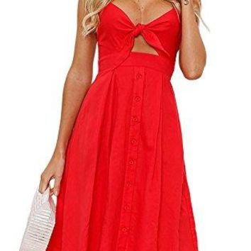 Yidarton Womens Dresses-Summer Spaghetti Strap Tie Front Button Down Sexy Backless Midi Dress