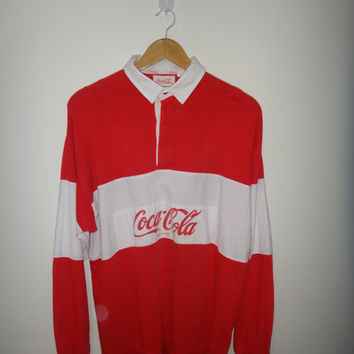 Vintage Coca Cola T Shirt Rugby Color Block Multi Color