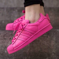 """""""Adidas"""" Fashion Shell-toe Flats Sneakers Sport Shoes Pure color Rose"""