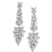 Audrie CZ Bridal Dangle Earrings - Cubic Zirconia Wedding Earrings - Stunning Drop Rhinestone Earrings