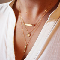 Layered Necklace Set / Delicate Gold Layer Necklaces / Gold Bar Necklace