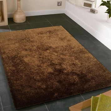 Solid Brown Shag Area Rug Amore collection Hand Tufted Weave