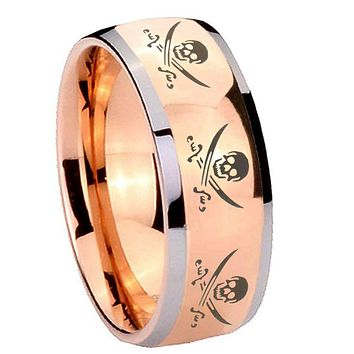 8MM Rose Gold Dome Multiple Skull Pirate 2 Tone Tungsten Carbide Laser Engraved Ring