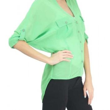 Lime Sheer 3/4 Sleeve Button Down