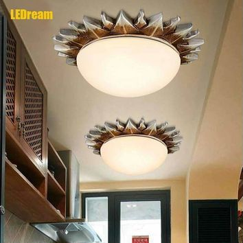 European-style balcony corridor lamp Antique bedroom living room study American country absorb dome LED light
