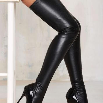 Nasty Gal Closer Thigh High Stiletto Boot - Black