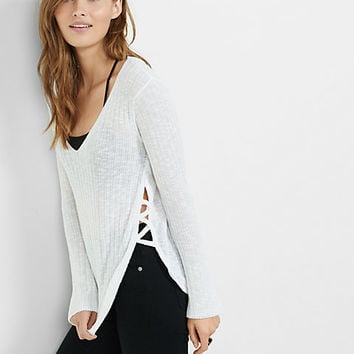 lace-up side v-neck pullover sweater