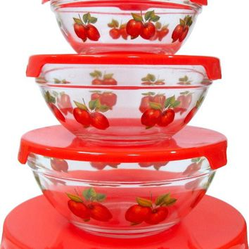 5Pcs. Glass Bowl w/ Red Apple Decals Case Pack 12
