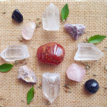 Crystal Grid Set Beginners Collection Crystal Kit healing crystals and stones  Grid Stones Crystal Collection Medicin Bag Crystal Pouch