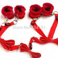 Sex Toys Tied Tease Under Bed Bondage Restraint Nylon Velvet  Hand Cuffs &Ankle Cuffs Set Sex Products For Couples Sexy Game