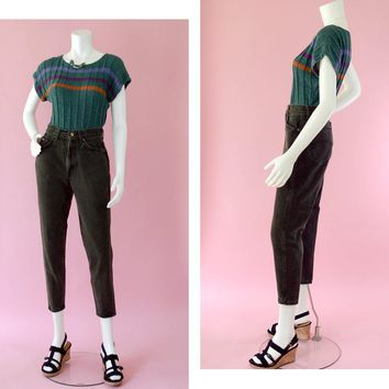 80s High Waisted Mom Jeans, Retro Chic Small Waist Black Denim Jeans, Taper Leg Jeans, 80s Streetwear Style Jeans, Women's Size 5 Petite