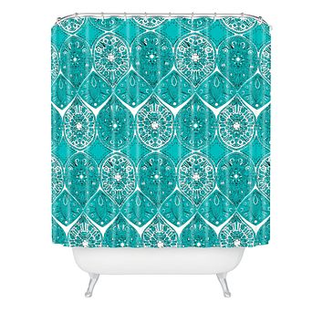 Sharon Turner Saffreya Turquoise Shower Curtain