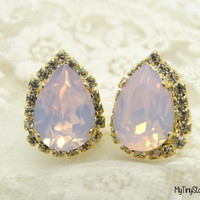 Wedding Jewelry Pink Opal Earrings Bridesmaid Gift Swarovski Crystal Teardrop Earrings  Rhinestone earrings Gold Earrings Post