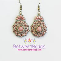 Pearl Earrings, Pink and Green, Beaded Dangle Earrings, Medium Earrings, Japanese Beadwork Gifts, Best Friend Gifts, Gift Ideas, Women