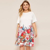 Plus Size White Floral Print Tee Dress Women Casual Shift Round Neck Short Sleeve Straight Officewear Dresses