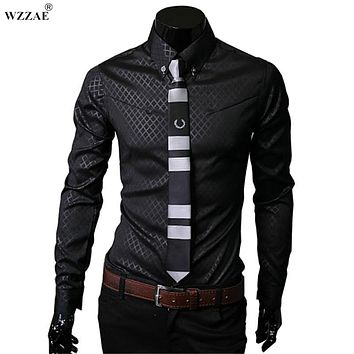 WZZAE 2018 New Arrive Brand New TOP Mens Designer Dark Stripes Dress Shirts Tops Casual Slim long shirts Plus Size M To 5XL