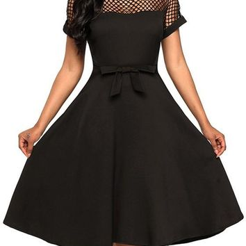 Black Cut Out Bow Draped A-Line Banquet Elegant Party Midi Dress