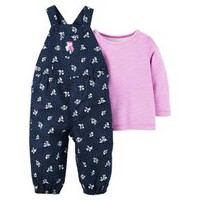 Baby Girls' 2 Piece Owls Overall Set Purple Stripes - Just One You™ Made by Carter's®